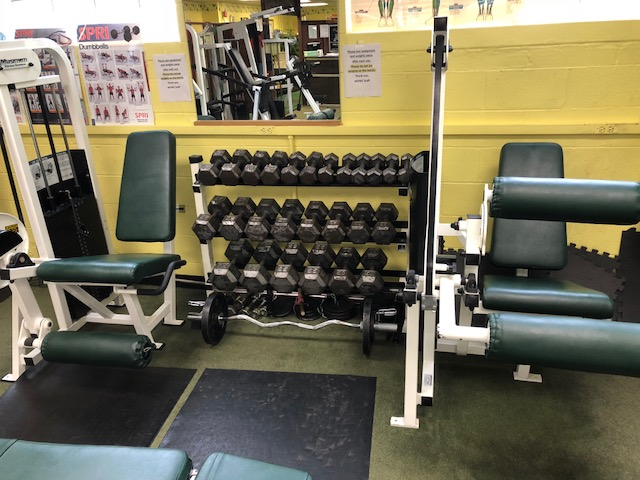 Dumbbells, Free Weights, and Leg Extension Machine